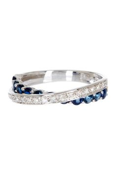 10K White Gold Sapphire & Pave Diamond Crisscross Ring by Color Of The Month on @HauteLook