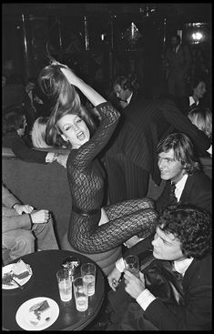 Jerry Hall partying in Paris. Photo by Bertrand Rindoff Petroff, 1976