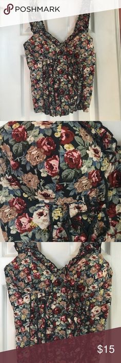 Joyce Leslie elastic corset top ❤️ Flower pattern, ruffles in the front, stretchy back, some padding in the breast area, stretchy straps with ruffles🔥‼️ Joyce Leslie Tops Crop Tops