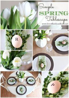 Love Of Family & Home: Simple Spring Tablescape (Green & White) #happy spring