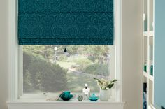Roman Shade - Teal Damask for the side windows on either side of the fireplace