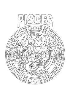 Adult Coloring Page Zodiac Pisces por PatternPixie en Etsy