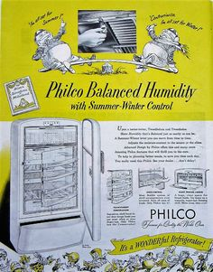 1948 Philco Refrigerator Vintage Advertisement Kitchen Wall Art Appliance Decor Original Magazine Ad Yellow Alice in Wonderland Ephemera by RelicEclectic on Etsy