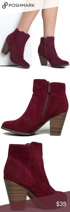 "Wine Colored Chunky Heeled Booties Gorgeous wine Colored Booties, faux suede, approx 2.5"" heel, comfortable and fit true to size Breckelles Shoes Ankle Boots & Booties"