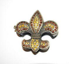 Jeweled Fleur de Lis TRINKET BOX Hinged  T652 by MardiGrasShoppe