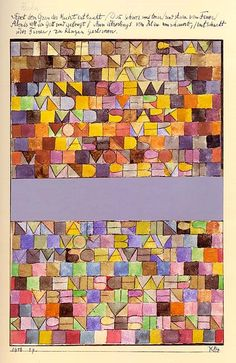 Paul Klee (German-Swiss, 1879-1940) Once Emerged from the Gray of Night, 1918. Jumping off point for a pojagi?