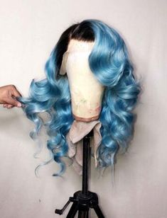 Blue Wigs Lace Hair Lace Frontal Wigs Teal Wig Silver And Blue Hair Be – eggplantral Wig Styles, Curly Hair Styles, Natural Hair Styles, Weave Styles, Frontal Hairstyles, Weave Hairstyles, Black Hairstyles, Hairstyles 2016, Hairstyles Videos