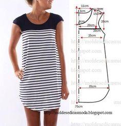 Vestido dos piezas moldesedicasmoda.blogspot.com
