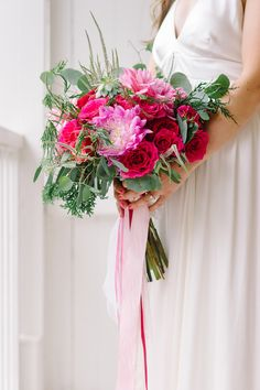 fuchsia wedding bouquet - photo by Tara McMullen http://ruffledblog.com/niagara-on-the-lake-wedding