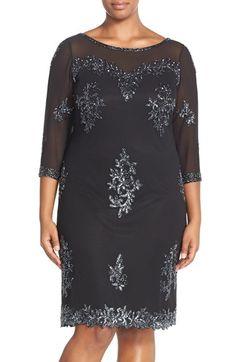 J Kara Embellished Illusion Yoke V-Back Cocktail Dress (Plus Size)