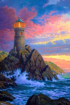 Thomas Kinkade Art, Thomas Kinkade Disney, Kinkade Paintings, Thomas Kincaid, Art Thomas, Lighthouse Painting, Lighthouse Pictures, Beautiful Paintings, Painting Inspiration