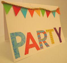 Handmade birthday card, craft, rainbow, party, bunting, fun, cute