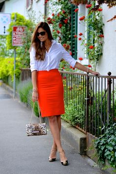 button-down shirt with pencil skirt
