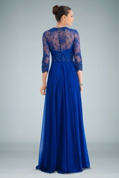 Graceful Evening Gown Featuring Sheer Beaded Lace Cover in Royal Blue Chiffon