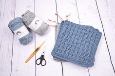 Grydelapper i vaffelmønster gratis opskrift, samt step by step billede guide i hækle mønstre