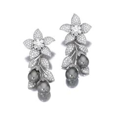 Sothebys Jewelry | ... and diamond ear clips, 'Orchis', Van Cleef & Arpels. photo Sotheby's