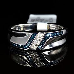 http://rubies.work/0096-ruby-rings/ Mens White 14k Gold Gp Genuine Real Blue Diamond Ring Engagement Wedding Band