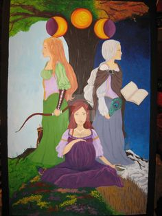 This was a birthday/Imbolc present for a friend. It represents Bridgett, the triple goddess (maiden, mother, and crone). The four seasons are represente. Maiden Mother Crone, St Brides, Pagan Art, Divine Mother, Wiccan, Witchcraft, Triple Goddess, Colorful Interiors, Deviantart