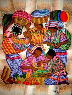 Esta técnica es de origen Guatemalteco aunque yo la aprendí en El Salvador.... La mezcla de pintura y bordado le dan a esto...