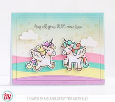 Hi everyone! I want to share with you my colorful card for Avery Elle  using Pegasus Duo  stamp set. It's so cute and I have so much fun col...