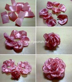 Creative ideas about embroidery design. Satin Ribbon Roses, Ribbon Art, Diy Ribbon, Fabric Ribbon, Ribbon Crafts, Flower Crafts, Fabric Flower Pins, Making Fabric Flowers, Cloth Flowers