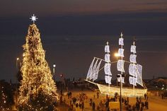Christmas decorations in Thessaloniki city center Christmas In Greece, Christmas In Europe, 12 Days Of Christmas, Xmas, Beautiful Lights, Beautiful Places, Christmas Ships, Christmas Lights, St Basil's