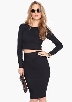 Matching crop top and pencil skirt - so good!