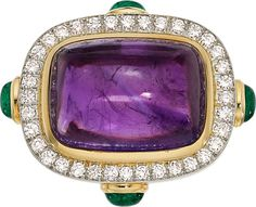 Amethyst, Diamond, Emerald, Platinum-Topped Gold Ring, Gold, David Webb The ring features a sugarloaf-cut amethyst measuring 22.75 x 16.65 x 11.35 mm and weighing approximately 33.05 carats, enhanced by oval-shaped emerald cabochons weighing a total of approximately 2.80 carats, set in 18k gold, accented by full-cut diamonds weighing a total of approximately 1.45 carats, set in platinum atop 18k gold, marked Webb. Gross weight 35.90 grams.