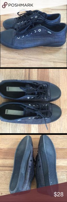 Women's Vans Sneakers - Hadley Lo in black Like new condition with only a little wear on bottom of sneaker. Maybe worn a few times. Black faux snake plaid print with black in back and front. Black laces have sheen. Awesome sneaker! Vans Shoes Sneakers