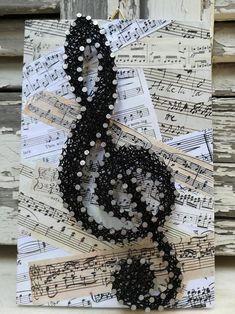 String Art Diy, String Crafts, Wood Crafts, Diy And Crafts, Arts And Crafts, Arte Linear, Music Symbols, String Art Patterns, String Art Tutorials