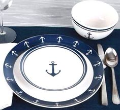 A NEW LUXURY! If you love to entertain casually by the sea, and your heart belongs to boats and sailing, our Vintage Anchor Ceramic Dinnerware is for you. Each piece has the charmingly rustic feel of handmade pieces, featuring a simple yet classic nautical anchor motif in nautical navy on soft white ceramic. 12-Piece service for four includes four each, 10 dinner plates, 7 salad plates, and 5.5 soup/cereal bowls. Dishwasher safe but, as with all ceramics, the dinnerware is breakable; hand...