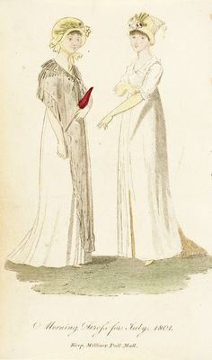 Morning dress, fashion plate, hand-colored engraving on paper, published London, July 1801.