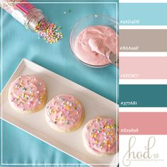 Sugar Cookies with Sprinkles  Pinks (light and dark mauve)  Blues (light sky aqua and deep romantic turquoise)
