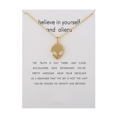 Buy Fashion Jewelry Believe In Yourself And Aliens Necklace Pendant For Women Aliens, Fashion Necklace, Fashion Jewelry, To Infinity And Beyond, Necklace Types, Simple Jewelry, Believe In You, Jewelry Accessories, Jewelry Ads