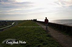 Shipwreck-Petten walking on the Hondsbossche Zeewering dike, left the city of Petten