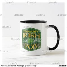 """Personalized Irish Pub Sign Mug.......Add your last name or other custom text to this cool Irish Pub merchandise """"Your Name's Irish Pub"""". Very cool personlized gift for St. Patricks day, Irish heritage or any time of year. Grunge vintage look green background with frame shape and celtic text, harp and """"good fun and friends"""", and """"luck, love and laughter"""". All Designs Copyright © 2013 www.CuteComfy.com"""