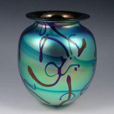 EICKHOLT BLUE IRIDESCENT ART GLASS VASE