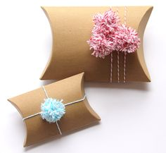 kraft pillow boxes with baker's twine pom poms