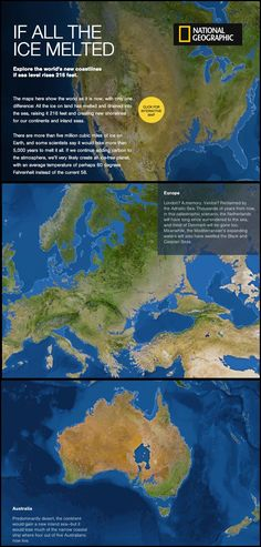 """If All the Ice Melted"" (infographic) (via National Geographic) An interactive map showing what different continents would look like with sea level rises. Earth Science, Science And Nature, Life Science, National Geographic, Save Our Earth, Meteorology, Environmental Science, Mother Earth, Fun Facts"