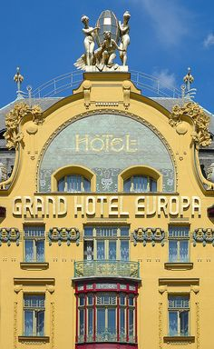 "Grand Hotel Europa, Prague-Wenceslas Square . Prague ""New Town"" (14th Century) . A great place to enjoy a beer,coffee,or soda & one's freedom to do so. Vaclav Pavel spoke near here & the Czech Republic was born in 1993 after the fall of Communism."