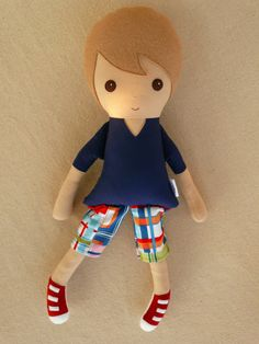 Fabric Doll Rag Doll Light Brown Haired Boy in von rovingovine, $35.00