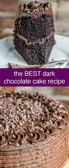 If you are a fan of dark chocolate, you'll love this dark chocolate cake recipe. The ultimate moist chocolate cake with a dark chocolate infused buttercream frosting. via @thebestcakerecipes