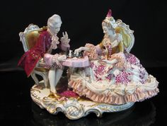 LARGE Antique VOLKSTEDT DRESDEN LACE FIGURE GROUP - CHESS PLAYERS - GERMANY #Dresden
