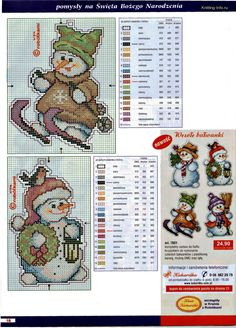 snowman ornaments page 1/2 - plastic canvas