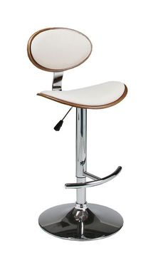 Pastel Furniture Joffrey Hydraulic Lift Barstool finished in chrome metal and walnut veneer wood and upholstered in Pu Ivory - JF-219-CH-WA-978