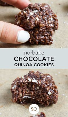 Chocolate Quinoa Cookies No Bake Chocolate Quinoa Cookies - stored in the freezer and have the BEST texture!No Bake Chocolate Quinoa Cookies - stored in the freezer and have the BEST texture! Quinoa Cookies, Healthy Cookies, Healthy Dessert Recipes, Healthy Baking, Vegan Desserts, Healthy Desserts, Gourmet Recipes, Baking Recipes, Dairy Free Gluten Free Desserts