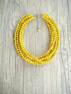 Bright FIVE strand yellow necklace,Yellow necklace,Yellow bridesmaids necklace,chunky yellow necklace,Yellow statement multistrand necklace