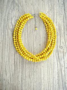 Cinq chapelet jaune collier collier jaune brillant par Karavakishop
