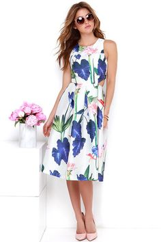 Down the Garden Path Ivory Floral Print Dress at Lulus.com!