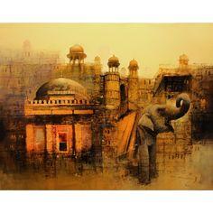 A. Q. Arif, 22 x 28 Inch, Oil on Canvas, Cityscape Painting, (EXB-01)-AC-AQ-054